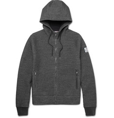 Moncler Gamme Bleu - Elbow-Patch Mélange Cotton-Blend Zip-Up Hoodie