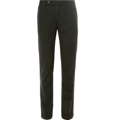 Massimo Alba Slim-Fit Pleated Checked Wool Trousers
