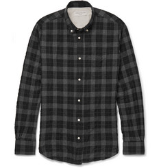 Officine Generale Button-Down Collar Plaid Brushed Cotton-Blend Shirt