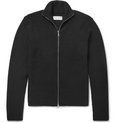 Officine Generale Slim-Fit Ribbed Merino Wool Zip-Up Sweater