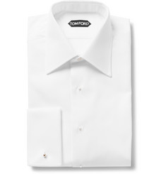 TOM FORD - White Slim-Fit Bib-Front Double-Cuff Cotton Tuxedo Shirt