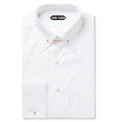 Tom Ford - White Slim-Fit Pinned-Collar Double-Cuff Cotton-Poplin Shirt