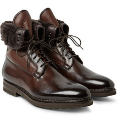 Santoni - Shearling-Lined Panelled Leather Boots