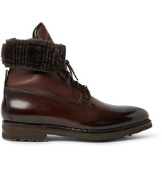Santoni Shearling-Lined Panelled Leather Boots