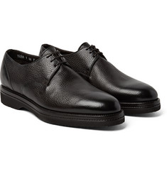 Santoni - Shearling-Lined Full-Grain Leather Derby Shoes