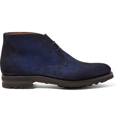 Santoni Burnished-Suede Chukka Boots