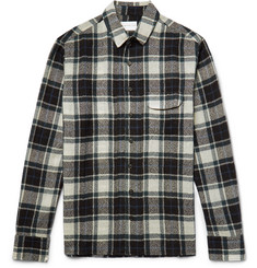 Simon Miller Bexar Slim-Fit Checked Wool-Gauze Shirt