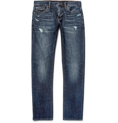 Jean Shop - Jim Skinny-Fit Distressed Selvedge Stretch-Denim Jeans