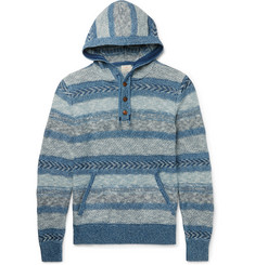 Faherty Striped Jacquard-Knit Cotton Hoodie