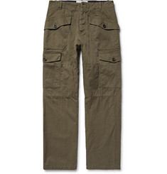 Loewe - Herringbone Cotton and Linen-Blend Cargo Trousers
