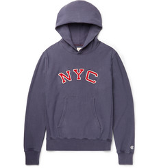 Todd Snyder + Champion Embroidered Loopback Cotton-Jersey Hoodie