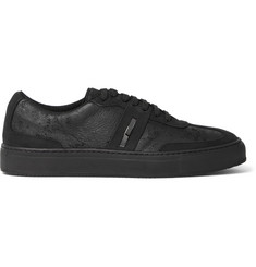 Neil Barrett Distressed Leather and Suede Sneakers