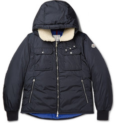 Moncler Darwin Shearling-Trimmed Quilted Shell Hooded Down Jacket