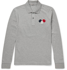 Moncler Slim-Fit Appliquéd Cotton-Piqué Polo Shirt