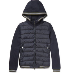 Moncler Maglia Fleece-Back Cotton-Jersey and Shell Down Jacket