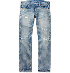 Fabric-Brand & Co Nuno Slim-Fit Distressed Washed Selvedge Denim Jeans