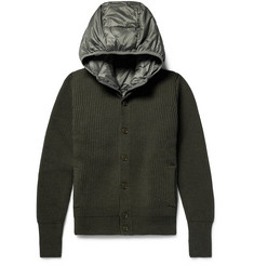Incotex Ribbed Virgin Wool Cardigan with Detachable Hooded Down Gilet