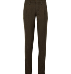 Incotex Slim-Fit Herringbone Wool and Linen-Blend Trousers