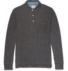 Faherty - Striped Indigo-Dyed Cotton-Jersey Polo Shirt