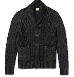 Faherty - Shawl-Collar Indigo-Dyed Cable-Knit Cotton Cardigan