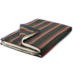Faherty Aspen Striped Cotton and Faux Shearling Blanket