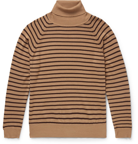 marc jacobs male 211468 marc jacobs striped wool rollneck sweater brown