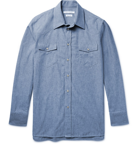 marc jacobs male 201920 marc jacobs slimfit cottonchambray western shirt blue