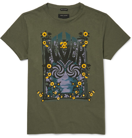 marc jacobs male 227429 marc jacobs slimfit printed cottonjersey tshirt green