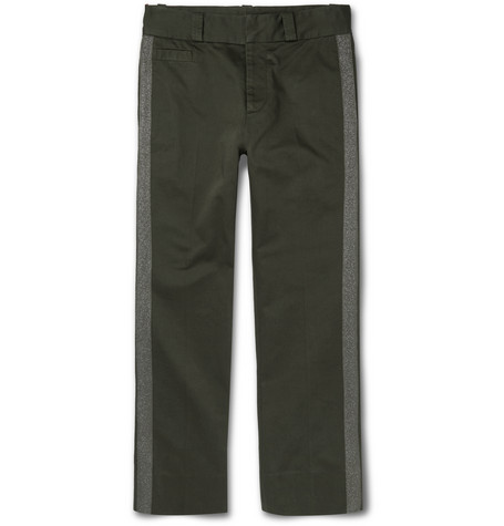 marc jacobs male 227429 marc jacobs cropped metallictrimmed cottontwill chinos green