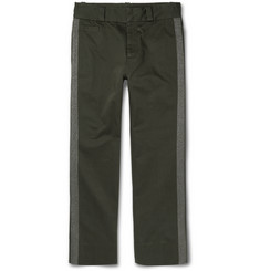 Marc Jacobs Cropped Metallic-Trimmed Cotton-Twill Chinos