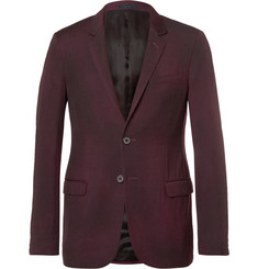 Lanvin Burgundy Slim-Fit Overdyed Brushed Wool-Gabardine Suit Jacket