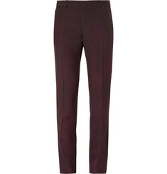 Lanvin Burgundy Slim-Fit Overdyed Brushed Wool-Gabardine Suit Trousers