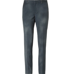 Lanvin Grey Slim-Fit Puppytooth Brushed Wool-Gabardine Trousers