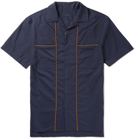 Camp-Collar Piped Cotton and Silk-Blend Shirt