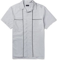 Lanvin Camp-Collar Piped Cotton and Silk-Blend Shirt