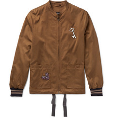 Lanvin Appliquéd Brushed-Satin Bomber Jacket
