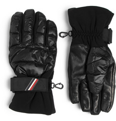 Moncler Grenoble Shell, Leather and Jersey Down Ski Gloves
