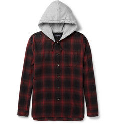 Undercover Checked Cotton-Blend Flannel Hooded Shirt