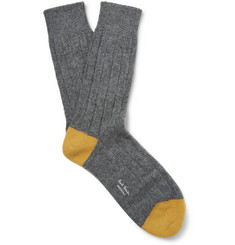 Paul Smith Two-Tone Ribbed Wool-Blend Socks