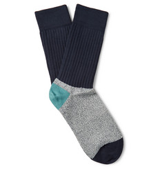 Paul Smith Colour-Block Mélange Cotton-Blend Socks