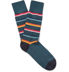 Paul Smith - Striped Mélange Stretch Cotton-Blend Socks