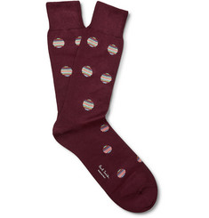 Paul Smith - Striped Polka-Dot Cotton-Blend Socks