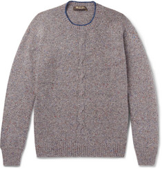 Loro Piana Contrast-Tipped Mélange Cashmere Sweater
