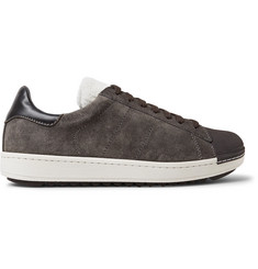 Moncler Jacohim Rubber-Trimmed Suede and Shearling Sneakers