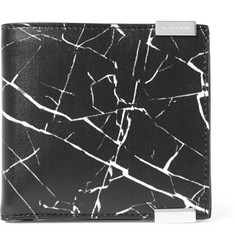 Balenciaga Marble-Print Leather Billfold Wallet