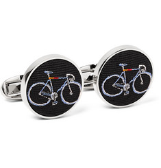 Paul Smith - Silver-Tone Bicycle-Embroidered Silk-Faille Cufflinks
