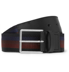 Paul Smith - 3.5cm Leather-Trimmed Striped Canvas Belt
