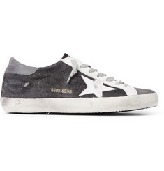 Golden Goose Deluxe Brand Superstar Distressed Leather, Nubuck and Canvas Sneakers