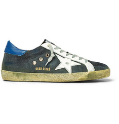 Golden Goose Deluxe Brand Superstar Distressed Leather-Trimmed Denim Sneakers