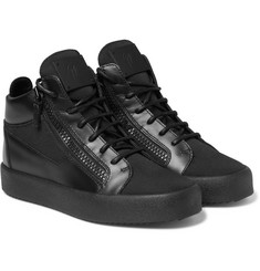 Giuseppe Zanotti - Leather and Mesh High-Top Sneakers